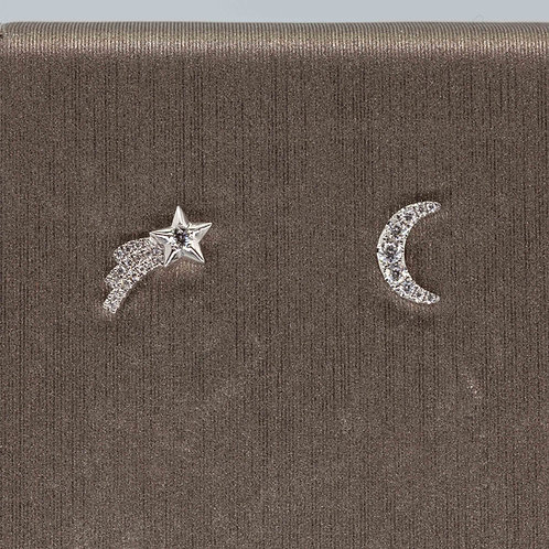 You Are My Moon and Stars Studs in White Gold