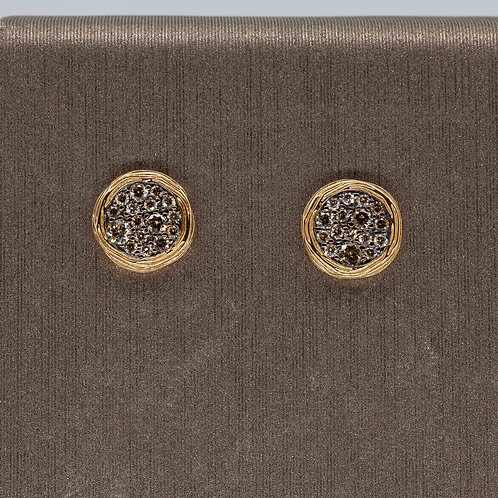 Champagne Diamond Studs in Brushed Gold