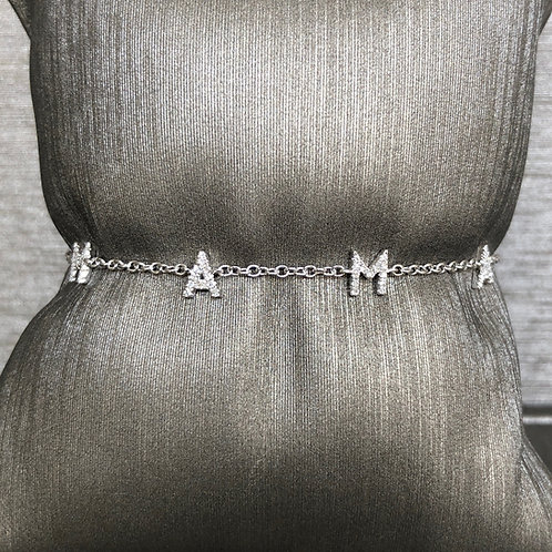 MAMA Diamond Bracelet on Gold Chain