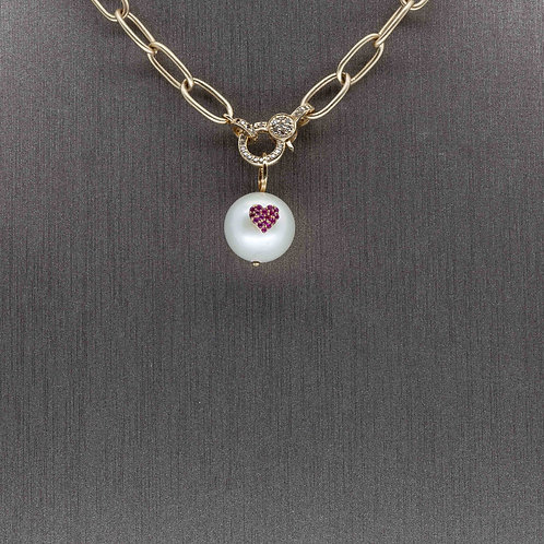 Pearl and Heart Charm