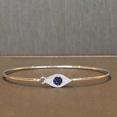 Evil Eye Diamond and Sapphire Bangle in White Gold