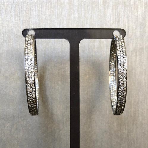 Silver and Diamond 3 Row Hoops