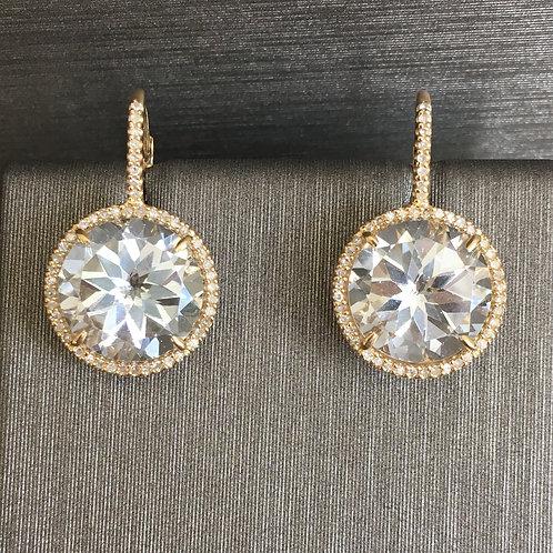 Large White Topaz Diamond Surround Drops