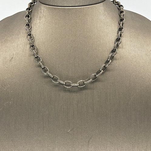 Oxidized Diamond Chain Necklace