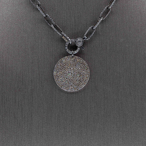 Oxidized Silver Diamond Circle Pendant