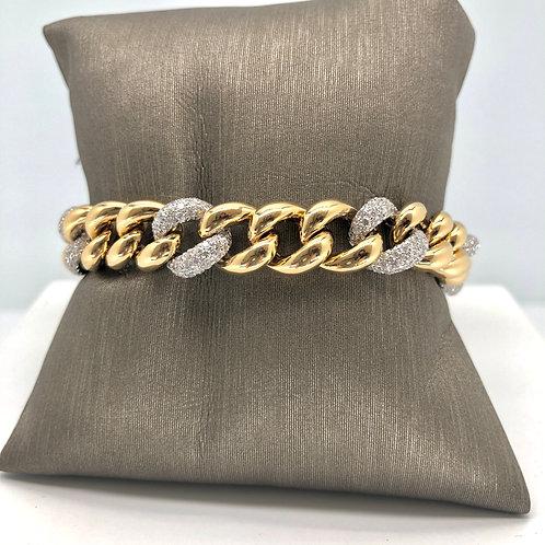 Alternating Gold and Diamond Link Bracelet