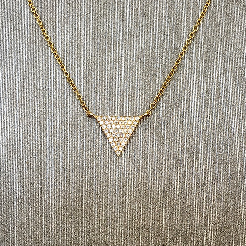 Diamond Triangle Necklace in Yellow Gold