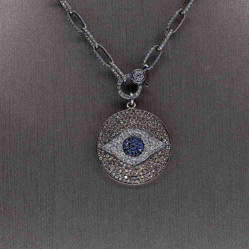 Oxidized Silver Diamond Evil Eye Pendant