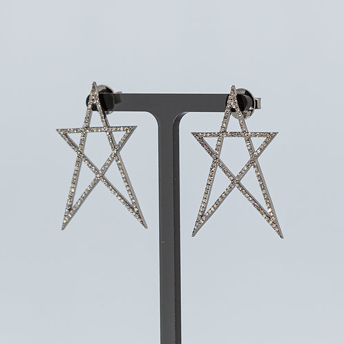 Five Point Star Silver Earrings