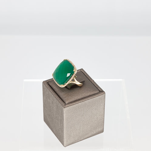 Green Agate and Diamond Cocktail Ring