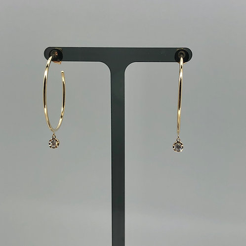 1 Inch Gold Hoops with Diamond Drop