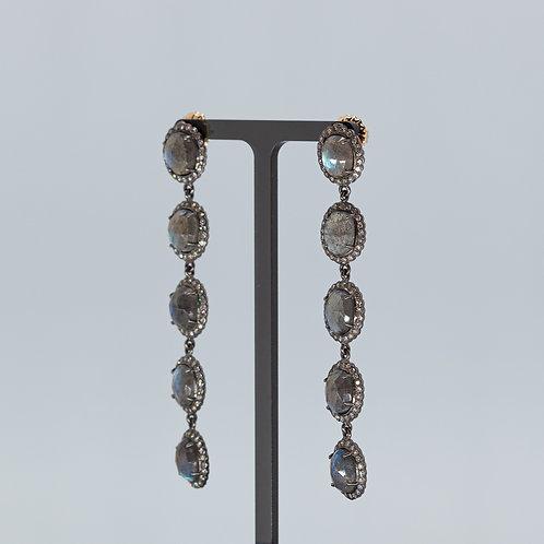 Labradorite and Diamond 5 Stone Drops
