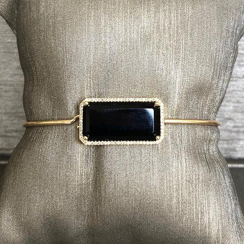 Black Onyx and Diamond Bar Bangle