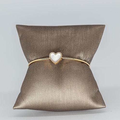 Diamond & White Enamel Heart Bracelet