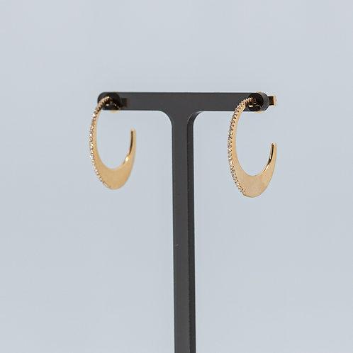 C-Shaped Oval Diamond Set Hoops
