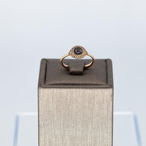 Small Evil Eye Ring in Rose Gold
