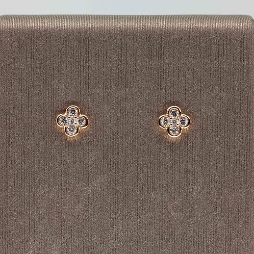 Baby Clover Diamond Studs in Yellow Gold