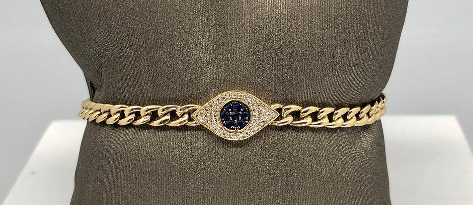 Diamond Evil Eye Chain Bracelet