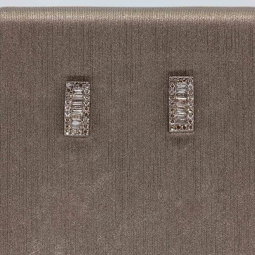 Oxidized Silver Diamond Sticks