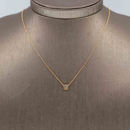 Diamond Solitaire Necklace in Yellow Gold