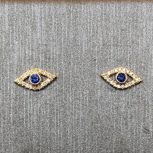 Baby Evil Eye Diamond Studs