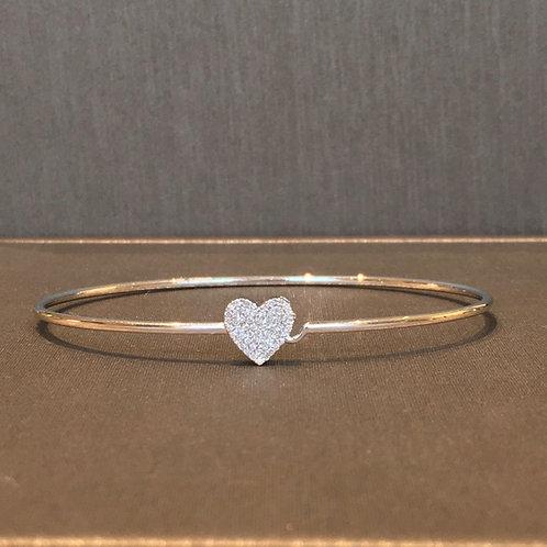 Diamond Heart Bangle in White Gold