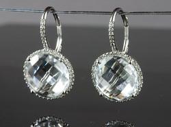 White Topaz and Diamond Drops