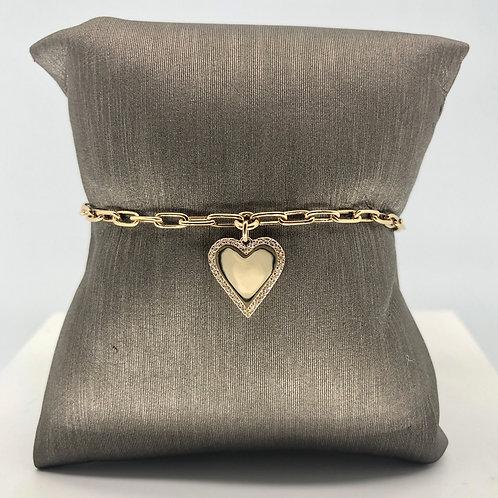 Shiny Heart Diamond Charm Bracelet