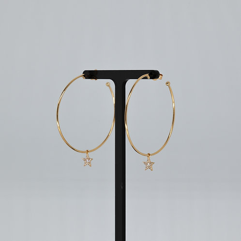 Diamond Star Hoops in Yellow Gold