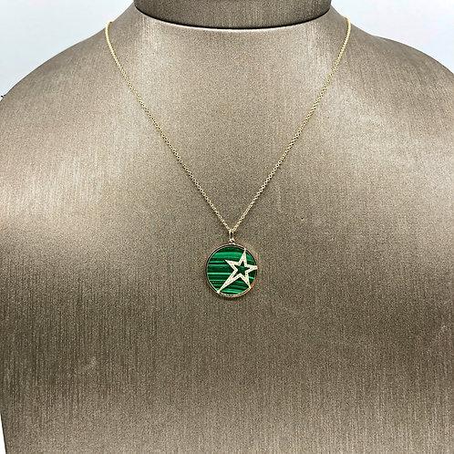Malachite and Diamond Star Necklace