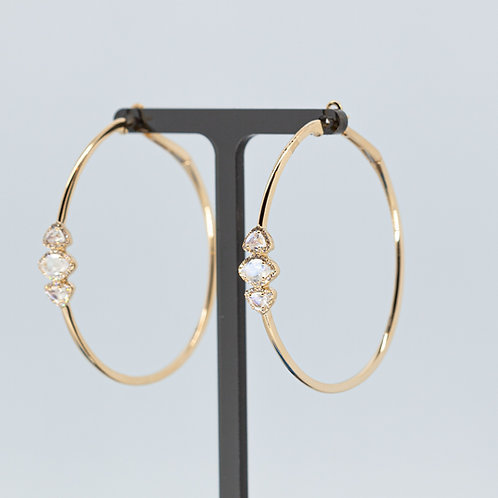 Triple Moonstone Gold Hoops