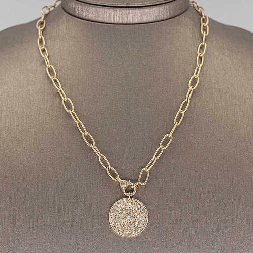 Solid Link Chain with Diamond Pave Pendant