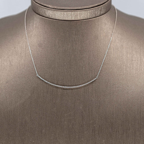 Skinny Diamond Crescent Necklace in White Gold