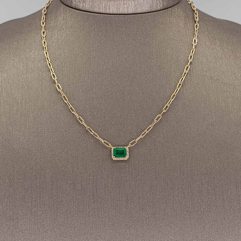 Emerald Pendant on Gold Link Chain
