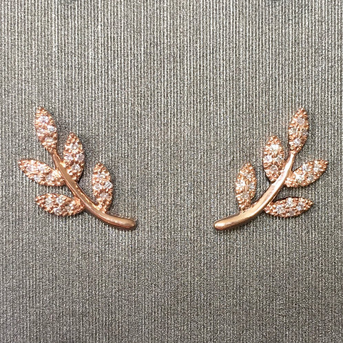 Diamond Vine Studs in Rose Gold
