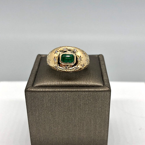Emerald and Diamond Star Dome Ring