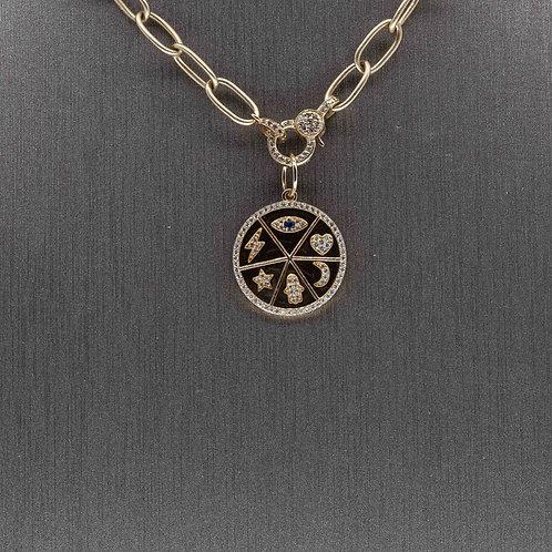 Black Enamel Symbol Charm