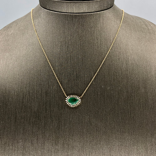 Emerald Necklace with Baguette diamond surround