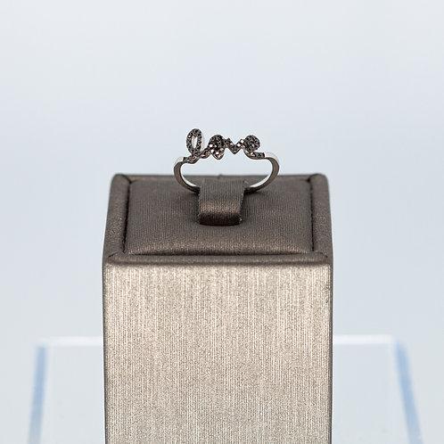 Black Diamond Delicate Love Ring in White Gold