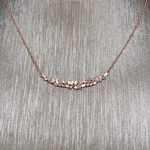 Diamond Baguette Crescent Necklace in Rose Gold