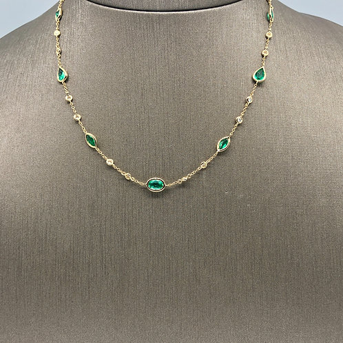 Emerald and Diamond by the Yard Necklace