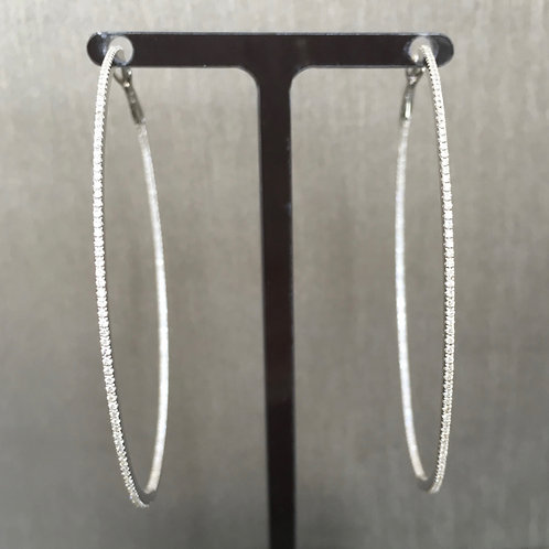 Skinny Diamond Hoops in White Gold