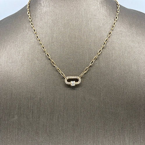 Diamond Carabiner Thick Chain Necklace