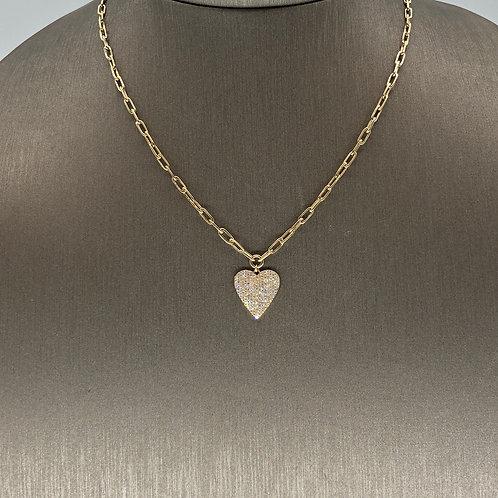 Diamond Heart on Gold Chain