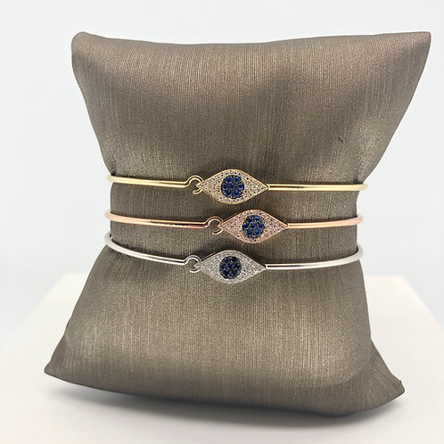 Evil Eye Diamond and Sapphire Bangle