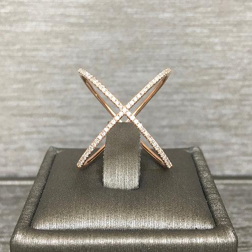 The Everyday Diamond X Ring in Rose Gold