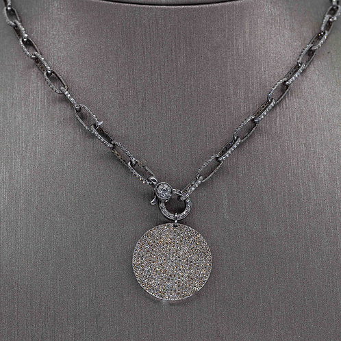 Oxidized Silver Diamond Chain & Pendant