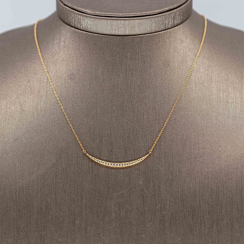 Large Diamond Crescent Necklace in Yellow Gold