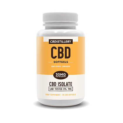 CBDistillery CBD Infused  Isolate Softgels  0 THC– 30mg-30ct