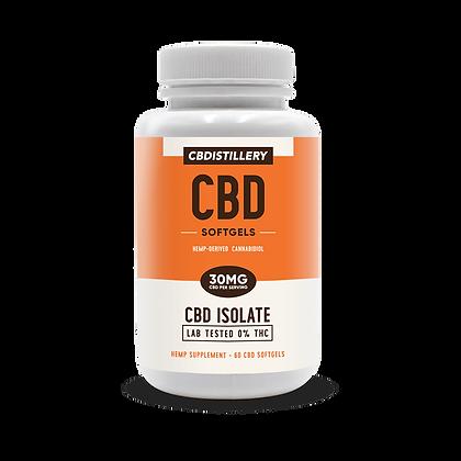 CBDistillery CBD Infused  Isolate Softgels 0 THC – 30mg CBD – 60 Ct